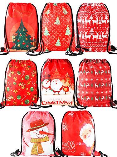 Jovitec 8 Pieces Christmas Drawstring Bags Bulk Pack Santa Gifts Sack Backpack