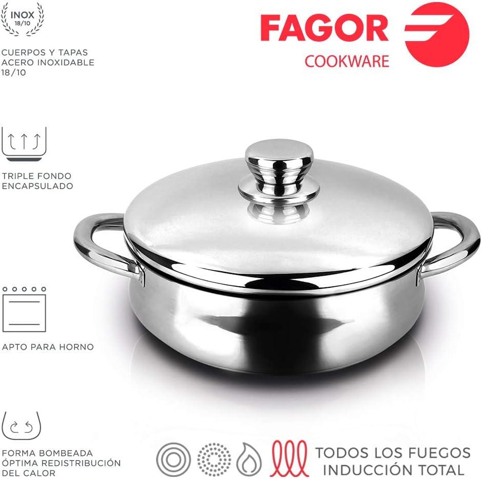 Multicolor Fagor 78599 Tartera INOX Silverinox Acero Inoxidable 18//10 D 28 cm Polyester