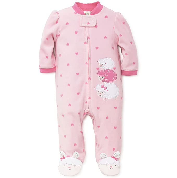 ca658a8fd4 Image Unavailable. Image not available for. Colour  Little Me Sheep Lamb  Fleece Blanket Sleeper Girls Winter Pajamas-Pink-12 Months