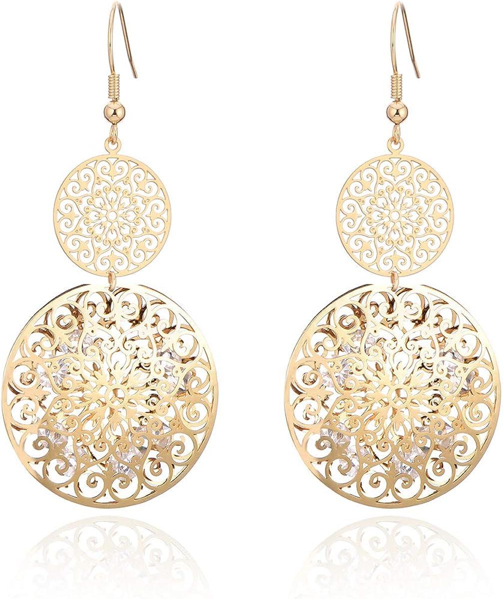 Pendientes colgantes para mujer, chapados en oro y plata, chapados en cristal de circonio cúbico brillante, las mejores joyas para amigos, mamá
