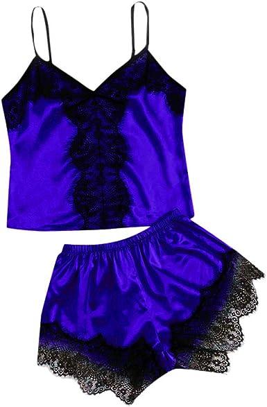 Conjunto de Pijamas Verano Mujer Baratas Dos Piezas Pijama de Encaje Blanca Bata de Tiras Finas con Calzoncillos Ropa de Dormir Camisola Floral Traje ...