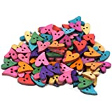 skonhed 100pcs Wooden Love Heart Buttons, Rustic Colored Wood Buttons with 2 Holes for Crafts Sewing Decoration
