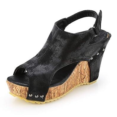 309c10a75f11c7 Women Wedge Sandals Leather Ankle Strap Platform High Heels Flip Flops  Buckle Ladies Summer Shoes Comfort