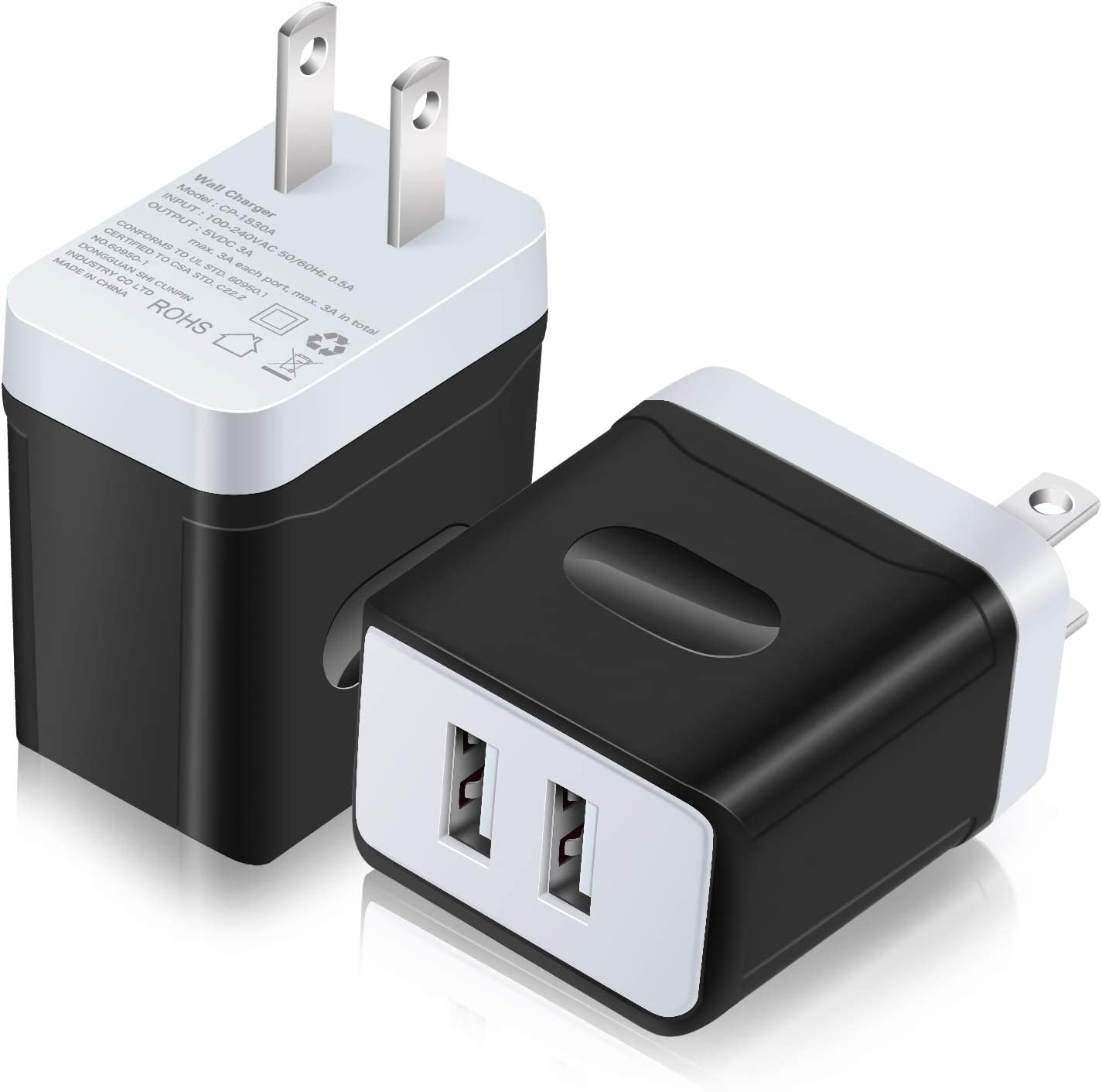 USB Plug, Costyle 2 Pack 3.1A 5V Dual 2 USB Port Home Travel Cell Phone Charger Compatible iPhone X 8 7 6 6s Plus se, Samsung Galaxy s7 Edge Note 8, OnePlus 6, Sony XZ Walkman, Switch (Black)