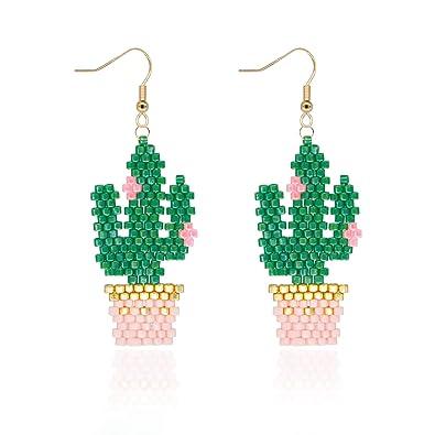 Regalos Hechos A Mano Para Ninas.Pendientes Mujer Colgantes De Cactus Regalos Originales