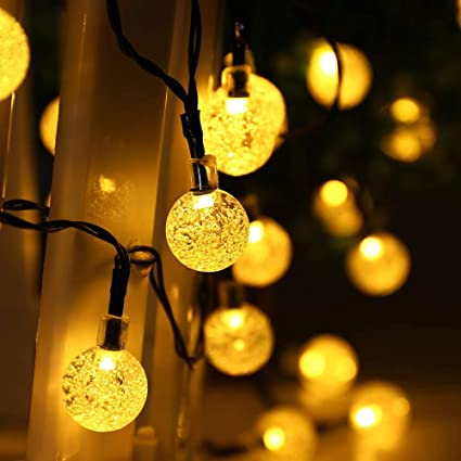solar string lights bright qedertek globe outdoor solar string lights 20ft 30 led fairy bubble crystal ball holiday party decoration amazoncom