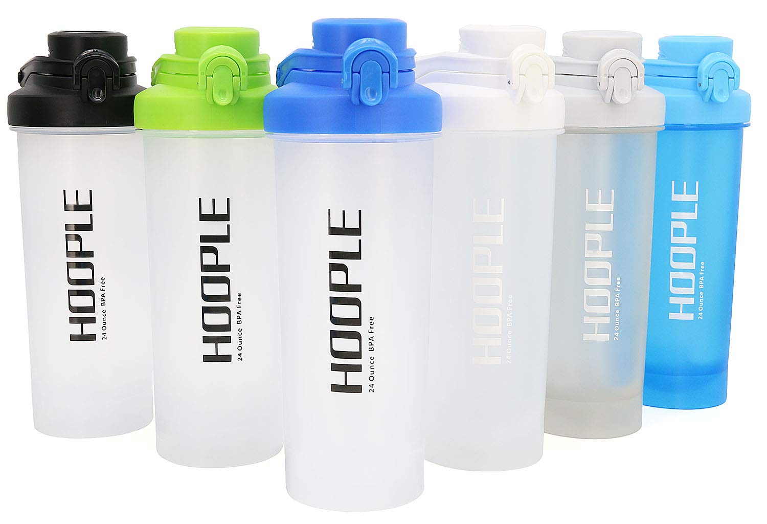 HOOPLE Protein Shaker Bottle, Gym Sports Water Bottle, Smoothie Mixer Cups, BPA Free, Flip Lid with Powerful Blending Ball Included, 24-Ounce (Random Color 4 Pack)