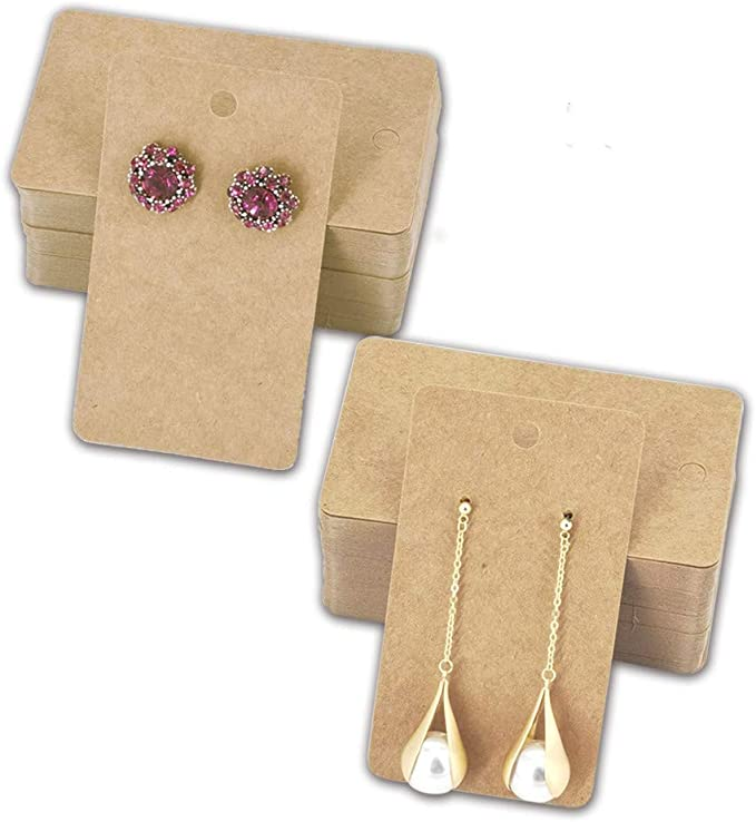 HUAPRINT Necklace Card holder -Kraft Paper Bracelet Display card-Jewelry hanging tags-Jewelry Display Card for Anklet,Hairband,Hair Ties,Choker,Key Ring Brown, 500 Pack
