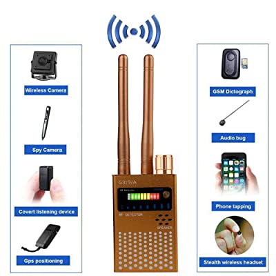 RF Signal Detector, Hidden Device Detector Full Range Wireless Anti-Spy Bug Detector GSM GPS Tracker Device Finder Detector Audio Bug Detect Hidden Camera with LED Flashing(G319A Gold) : Camera & Photo
