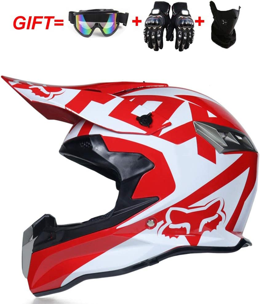 MAKE FINE Casco da Motocross Casco MX Set Casco Cross Guanti Regalo//Occhiali//Maschera Casco Integrale ATV Cross Country Unisex
