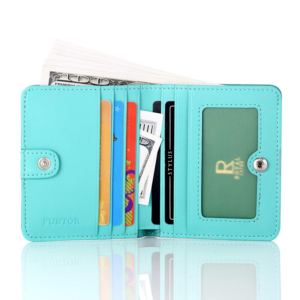 FUNTOR Leather Wallet for women, Ladies Small Compact Bifold Pocket RFID Blocking Wallet for Women, Blue by FT FUNTOR (Image #2)