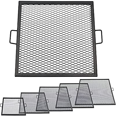 Sunnydaze X-Marks Square Fire Pit Cooking Grill - Multiple