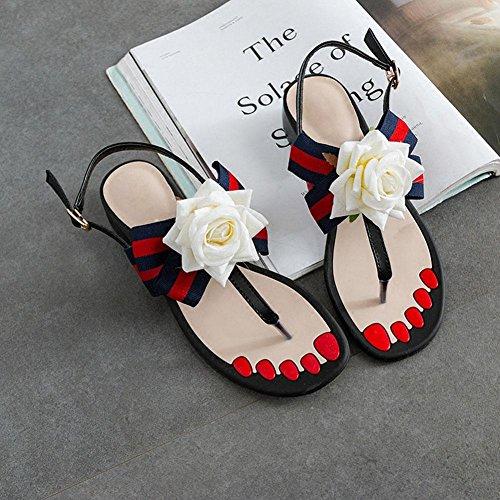 sandalias de dedo del pie palabra la Sra sandalias de correa femenina carpeta de flores grueso con zapatos de tacón bajo los zapatos dulces flip Roma White