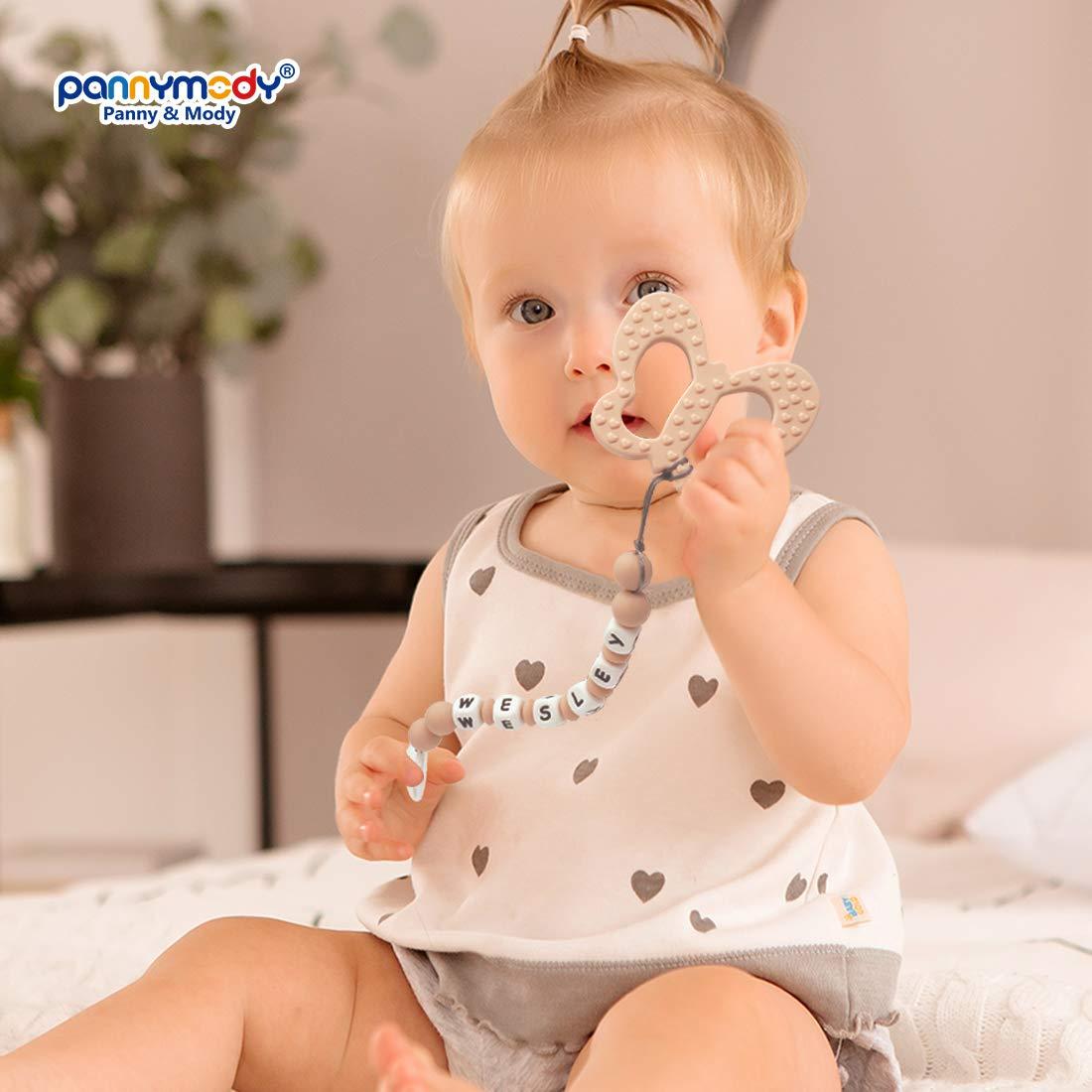 Beige Panny /& Mody Schnullerkette mit Namen und Schmetterling Bei/ßring f/ür Babys Junge M/ädchen Schnuller Clip Personalisierte Silikon Perlen Bei/ßring Zahnen