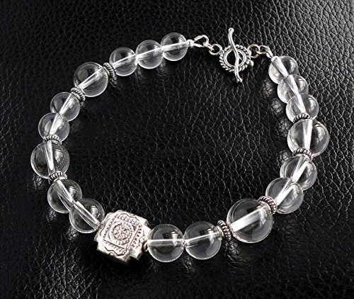 Rock Crystal Quartz Gemstone Bracelet for Men with Bali Sterling Silver, Men's Jewelry, Handcrafted in USA
