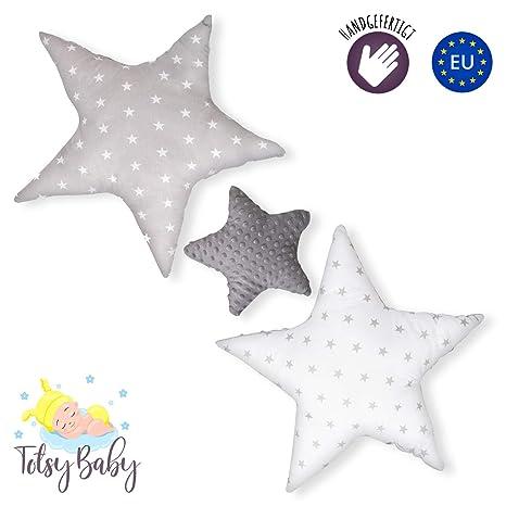 cojin estrella cojines bebe - decoracion peluche estrella regalo bebe recien nacido niña niños chico gris-blanco oscuro con estrellas y lunares ø 30cm ...