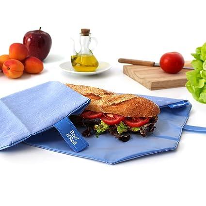 Rolleat - BocnRoll Eco - Bolsa para Desayuno Porta Bocadillos Ecológica y Reutilizable sin BPA | Funda Bocadillo con Cierre Fácil Ajustable, Color ...