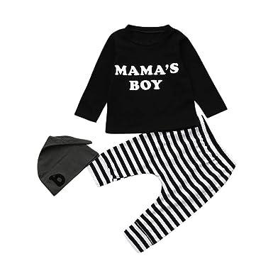 e06fa04d8d5eb Sensail Ensemble Bebe Garcon Hiver Vetement Bébé Garçon Naissance Printemps  Garçon Pyjama Enfant Fille Blouse Lettres Chemise Haut Top Sweat t Shirt +  ...