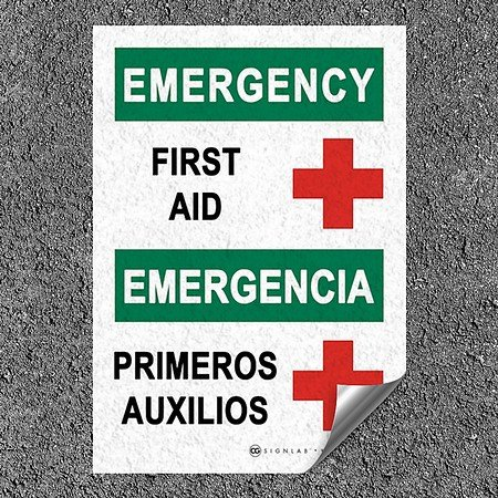 CGSignLab |First Aid -Emergency Heavy-Duty Industrial Self-Adhesive Aluminum Wall Decal (5-Pack) | 7''x10''