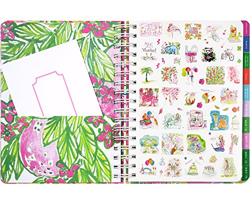 Lilly Pulitzer 17 Month Jumbo Agenda with Family Sticker Set Bundle (Red Right Return)
