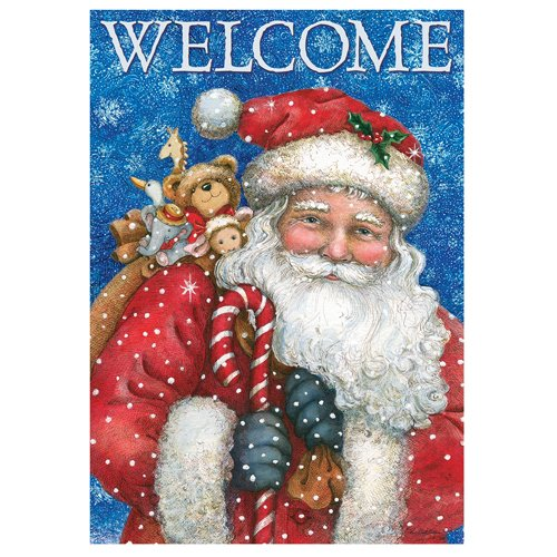 Welcome Santa's Gifts - Standard Size House Flag, Double Sided 28 Inch X 40 Inch