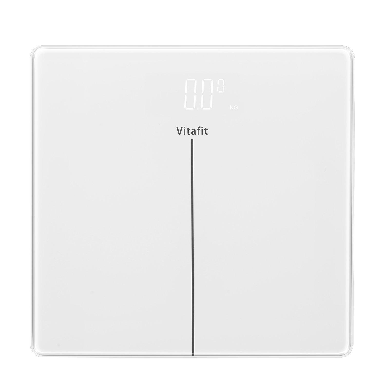 Vitafit Bilancia Pesapersone Digitale Alta Precisione con Tecnologia Tap-on,Bilancia Elettronica con Grande display a LED, Design Sottile con Elegante Vetro Bianco,180kg/400lb