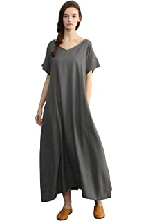 2453b0be3d2 Sellse Women s Linen Loose Summer Large Size Long Dress Plus Size Cotton  Clothing