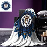 smallbeefly Chakra Digital Printing Blanket Vintage Style Power Sign Graphic Sacred Center of Vital Energy Cosmos Yoga Meditation Summer Quilt Comforter Blue Gold