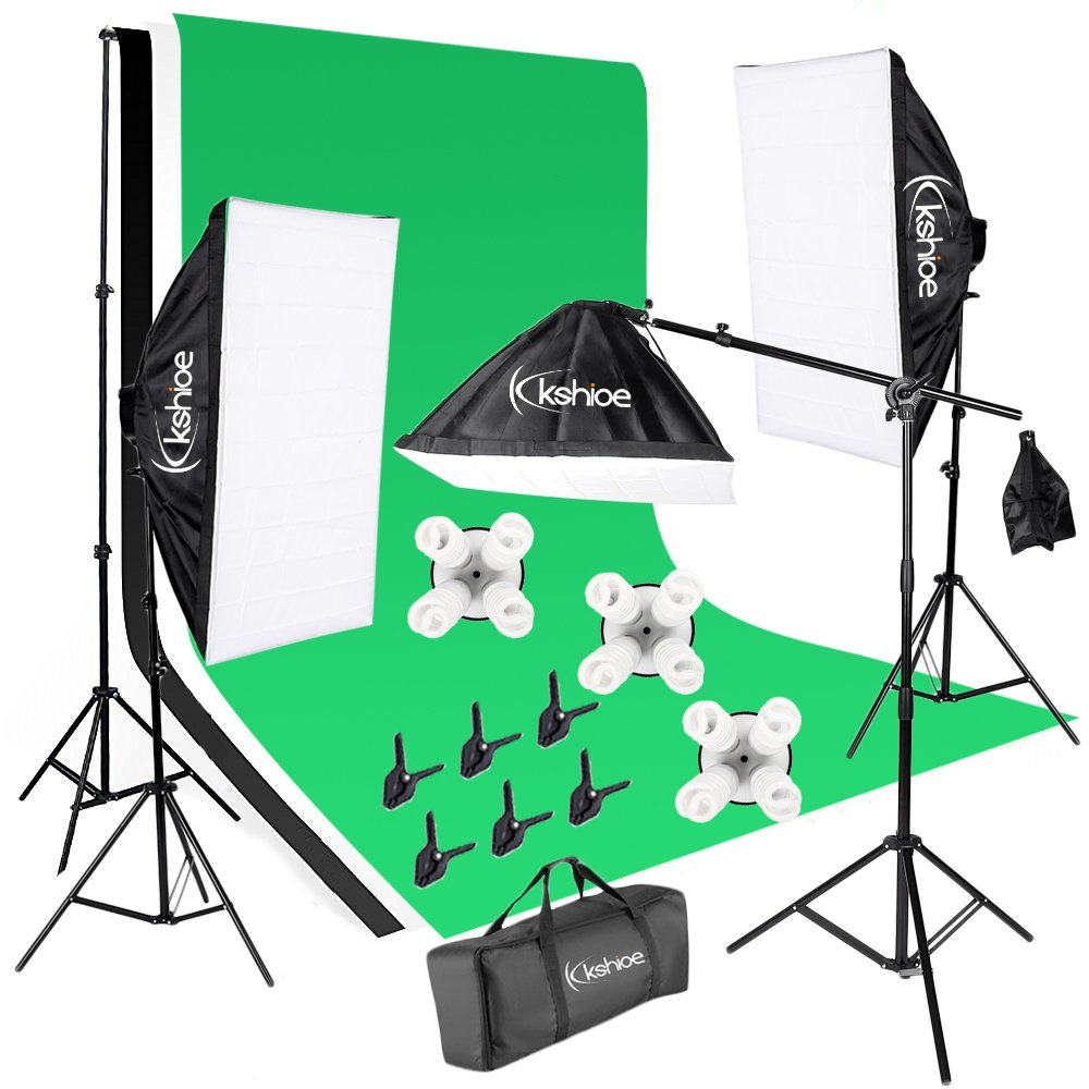 Kshioe Photo Video Studio Light Kit - Includes Studio Background Stand,Muslin Backdrops(Green Black White),Softbox,Light Stand,Lamp Holder And LED Bulbs