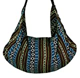 Tribal Hmong Striped Ethnic Cotton Boho Sling Shoulder Asia Thai Pattern Crossbody Bag Backpack Top Zip (Stripe Blue4)