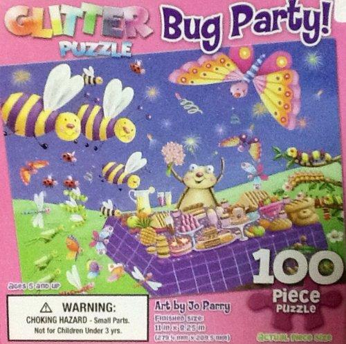 Bugs Cardboard Jigsaw Puzzle - Delightful Cartoon Bug Party 100 Piece Glitter Puzzle! Bright! Colorful! Fun!