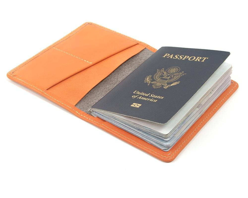 Orange Leather wallet for passport. Travel passport cover for women. Travel wallet made in USA by Made In Mayhem
