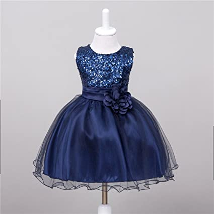 ac552e1d764f Amazon.com: Gotd Infant Toddler Baby Girl Sequins Sleeveless Tutu Princess  Dress Clothes Winter Outfits Christmas Holiday (0-6 Months, Dark Blue):  Musical ...