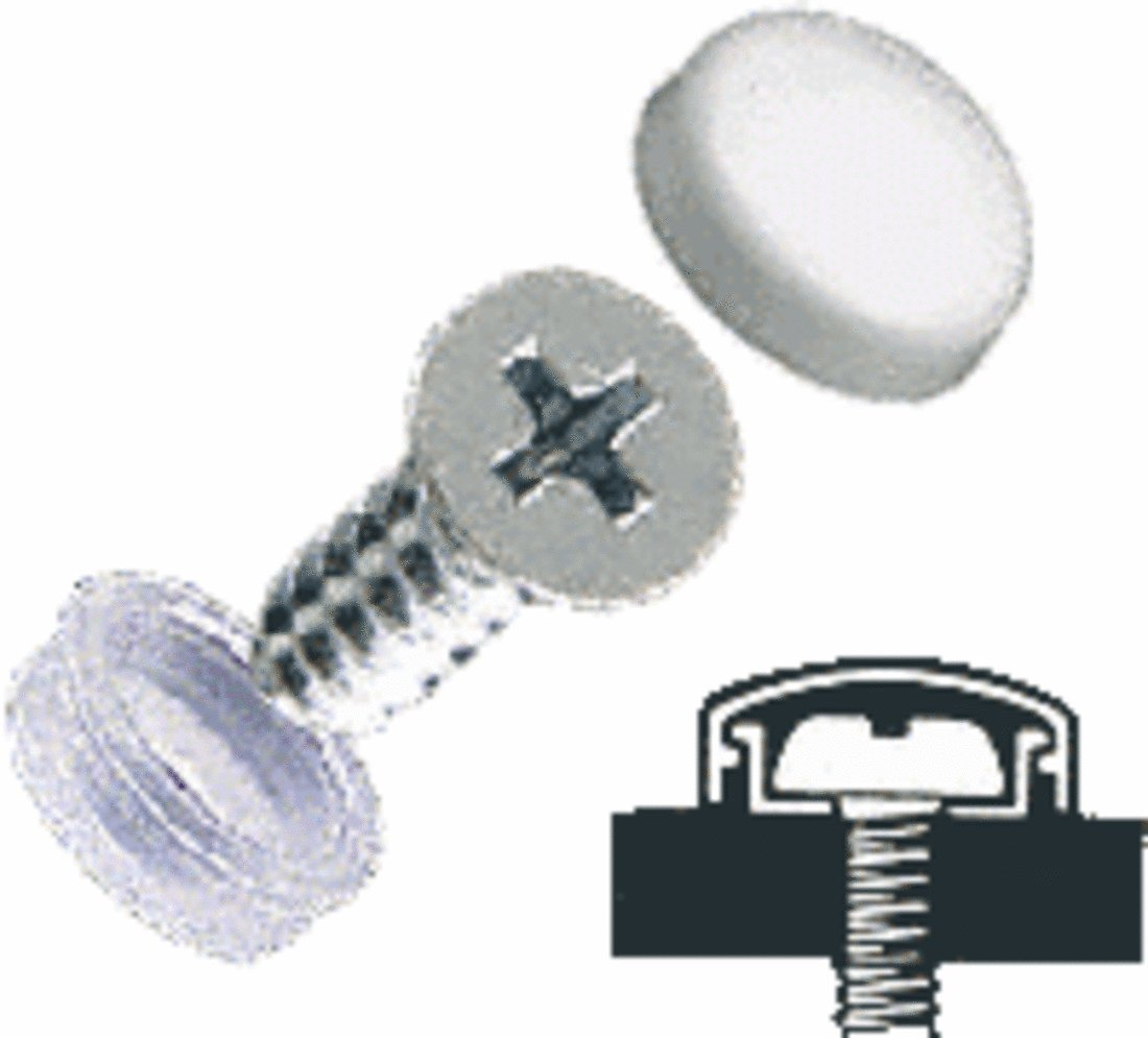 CRL White Flat Large Snap Cap Screw Covers