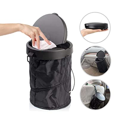 JULY PRO Traveling Portable car Garbage can with Lid,Collapsible Pop-up Trash Can with Cover Car Trash Bag Hanging Portable Car Accessories Organizer: Home & Kitchen