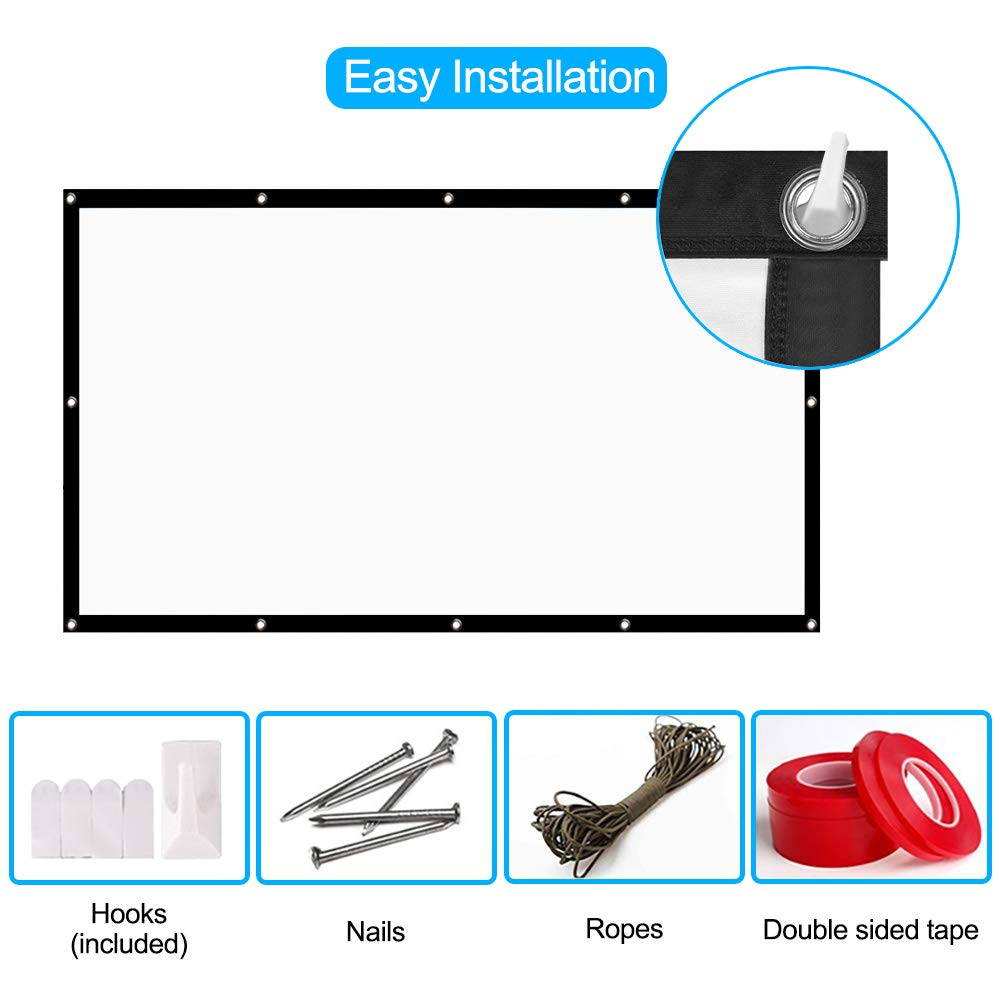 HENZIN 120\'\' Inch Projection Screen 16:9 HD 4K Portable Projector Screen Foldable for Home Theater Cinema Indoor Outdoor Front and Rear Simple Projection