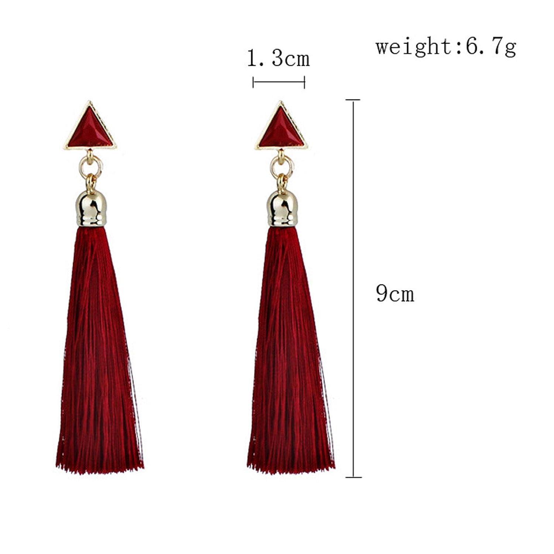Vintage Crystal Tassel Earrings Bohemian Dangle Drop Tiered Long Tassel Stud Earrings Elegant Eardrop By Dmitongz