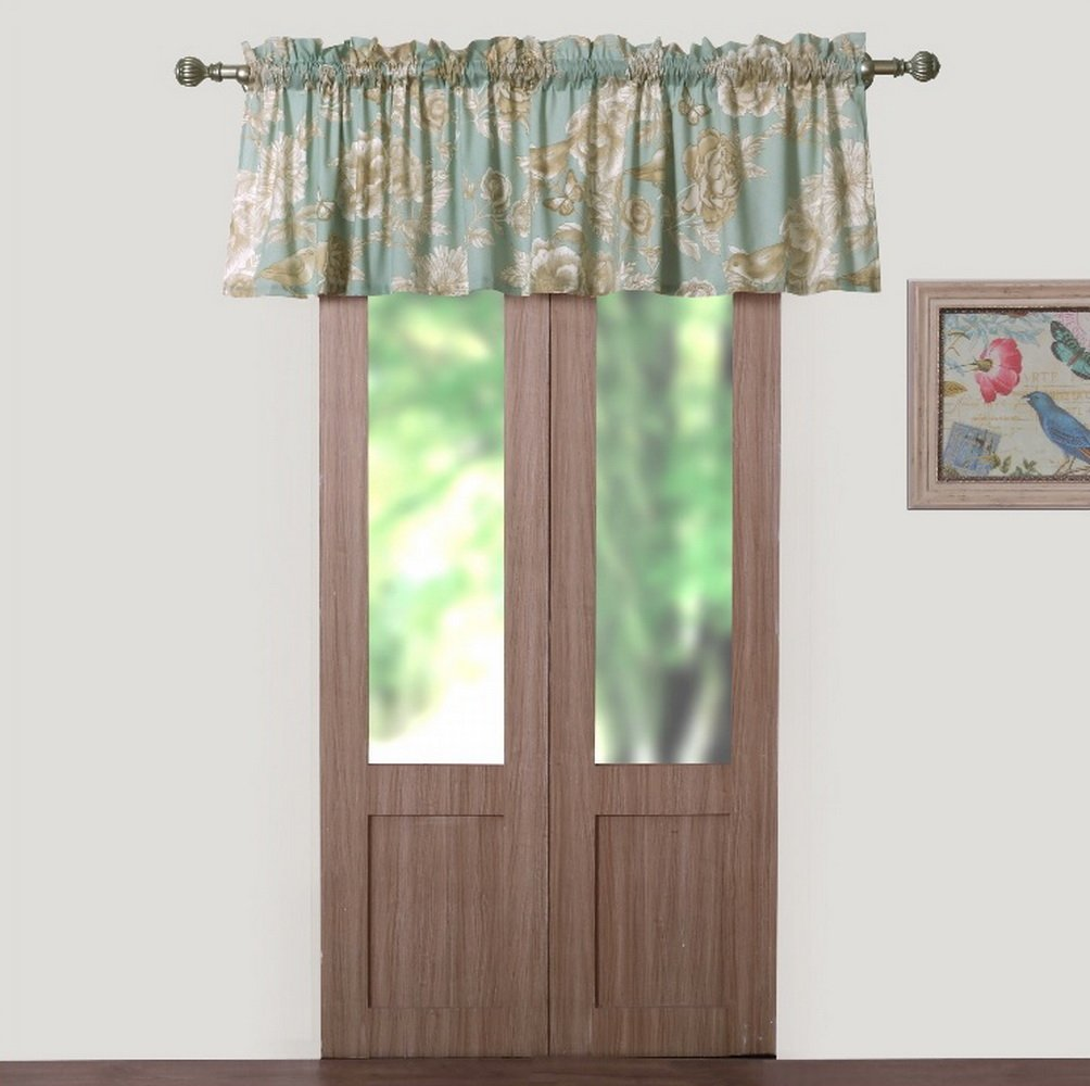 Finely Stitched Window Treatments Tab Top Curtains Valance Chic Cottage Style Garden Flowers Leaves Birds Butterflies Print Pattern Spa Green Taupe 84 inch Wide