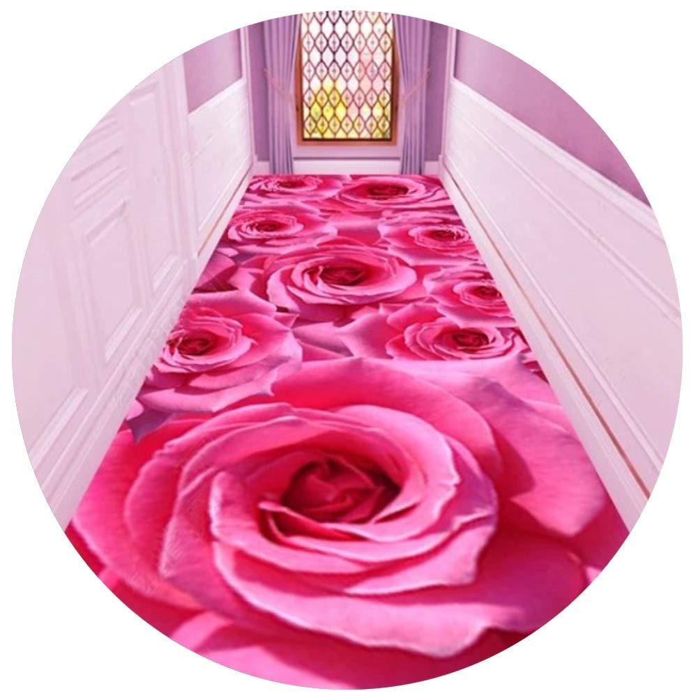 YANGJUN 廊下敷きカーペット ラグ ランナー 滑り止め イージーケア 耐摩耗性 洗える 印刷 家庭 ホテル ピンク ローズ 花 カッタブル カスタマイズ可能 (色 : A, サイズ さいず : 0.8x5m) B07S1845SQ A 0.8x5m