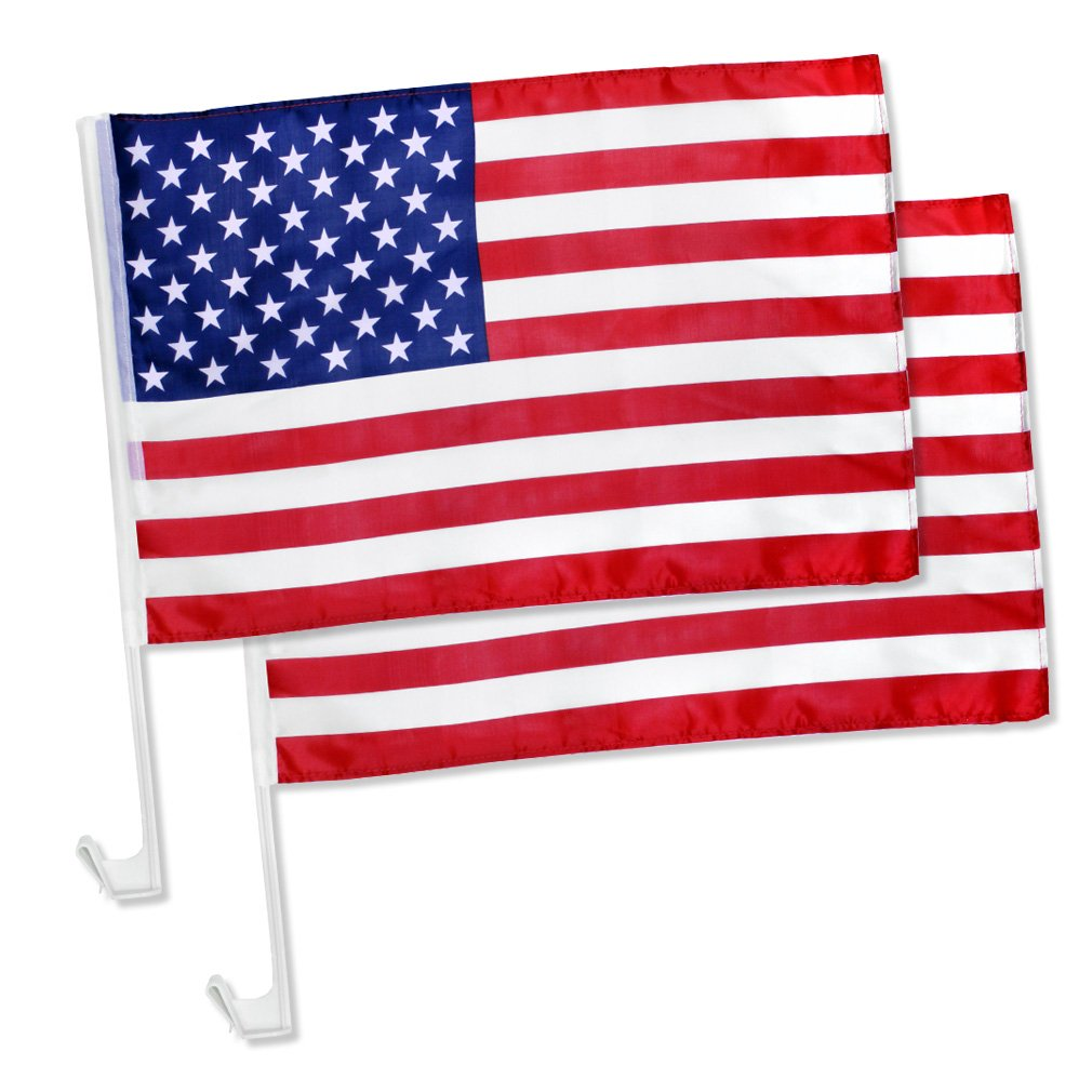 """2x US American Patriotic Car Window Clip on USA Flag 17"""" x 12"""" - Pack of 2"""