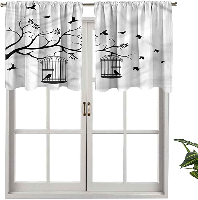 Hiiiman Cortinas térmicas aisladas con cenefa de pájaros volando a jaulas, juego de 2, 106,7 x 91,4 cm para decoración de salón comedor