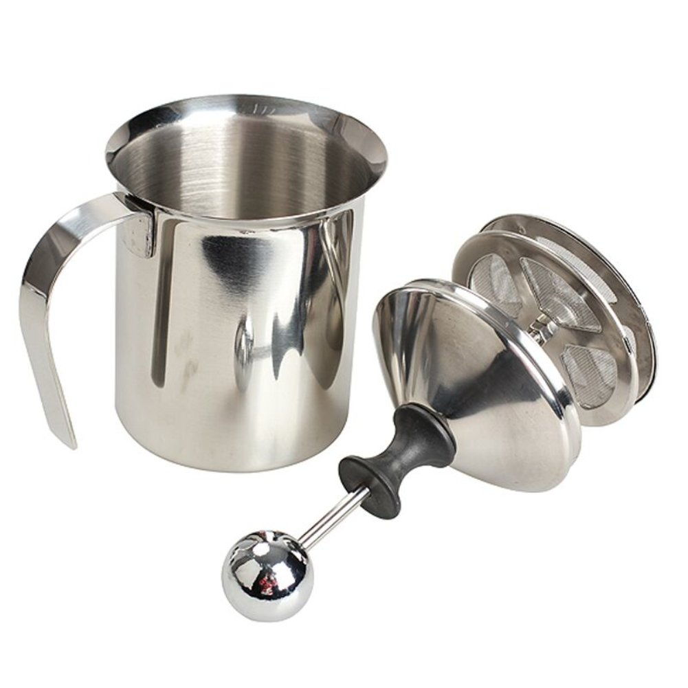 Stainless Steel Pump Milk Frothers Creamer Foam Cappuccino 400 ml / 800 ml Coffee Double Mesh Froth Screen Silver (27 oz.(800ml))