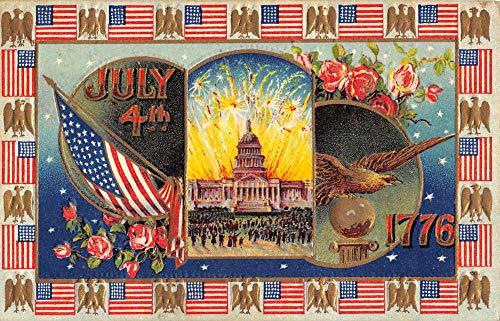 July 4th 1776 Independence Scene Multiview Patriotic Antique Postcard K103964