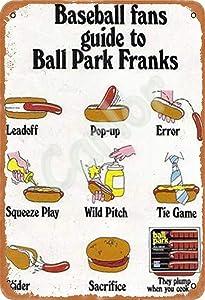Carlor Baseball Fans Guide to Ball Park Franks Hamburger Hot Dog Food Poster Chic Art Prints Advertising Painting Vintage Wall Decoration Metal Tin Sign 12 X 8