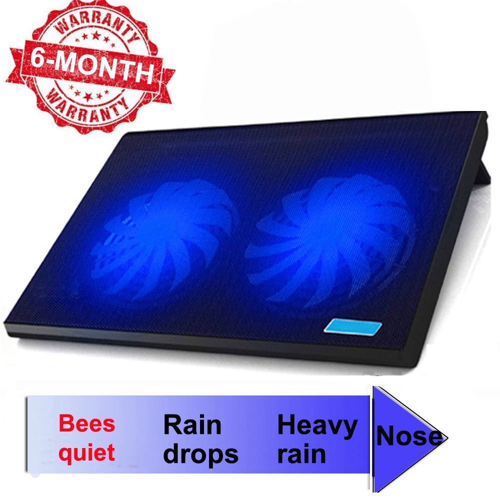 ThreeLeaf T102 10-15.6'' Office Laptop Cooling Pad (Big 2Fans Super Quiet , Double Sides Built-in USB Line, Back Feet Stand)