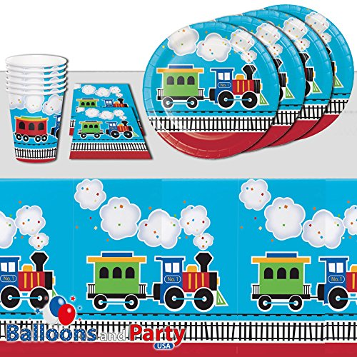 All Aboard Trains Childrens Birthday Party Tableware Pack Kit For 16