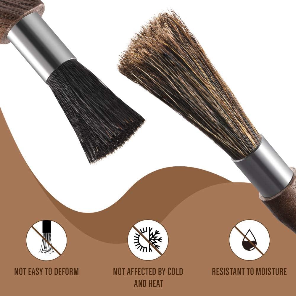 rectas + curvadas Soulhand Professional herramienta de limpieza para cafeteras expreso Barista Home sin cerdas de madera de nogal natural Juego de cepillos de limpieza para cafeteras