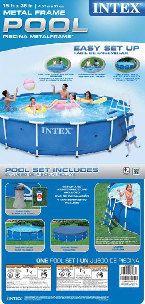 amazoncom intex 15 x 36 metal frame swimming pool set with 1000 gph gfci pump 28231eh above ground swimming pools home kitchen
