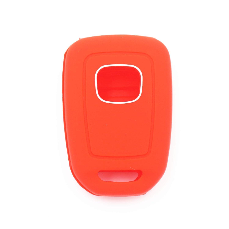 WFMJ 2Pcs Red Blue Silicone for Honda Accord Civic Crosstour CR-V HR-V MLBHLIK6-1TA 4 Buttons Remote Key Cover Chain Case Fob