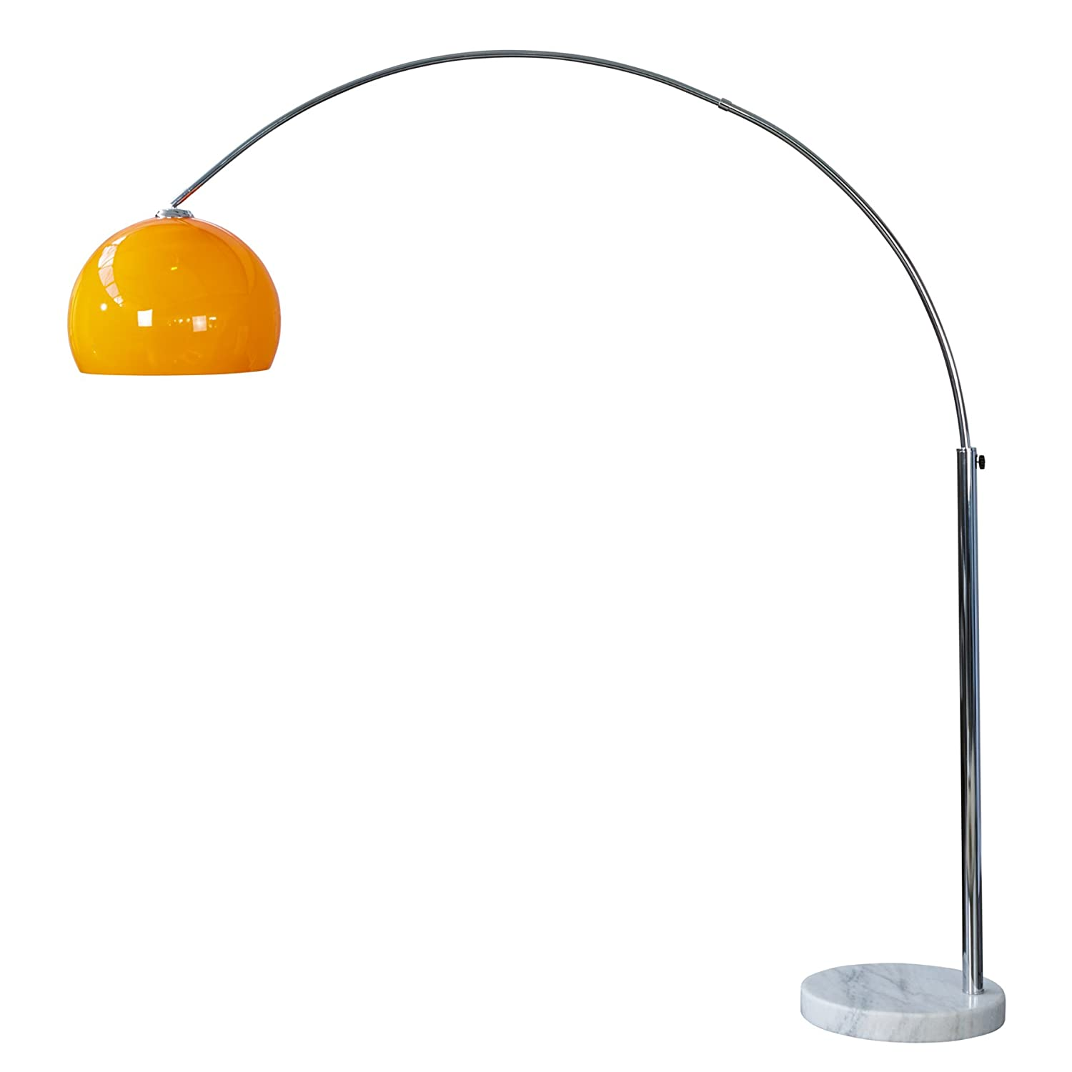 Design Bogenlampe LOUNGE DEAL Orange Marmorfuss 175 - 205cm ausziehbar